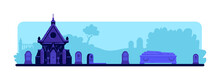 Cemetery Flat Color Vector Ill...
