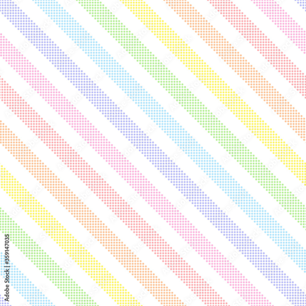 Rainbow seamless diagonal striped pattern, vector illustration. Seamless pattern with pastel colorful lines from dots. Kids pastel rainbow geometric background