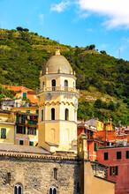 It's Church In Vernazza (Vulnetia), A Small Town In Province Of La Spezia, Liguria, Italy. It's One Of The Lands Of Cinque Terre, UNESCO World Heritage Site