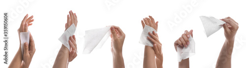 Closeup view of people cleaning hands with wet wipes on white background, collage Slika na platnu