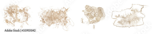 Abstract watercolor gold shapes on white background Slika na platnu