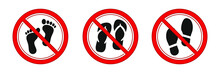 No Foot Slipper And Shoes Sign. Red Prohibitation Signs Vector Image