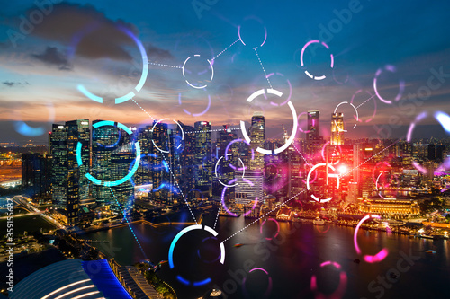 Foto Hologram of abstract technology glowing icons, panoramic cityscape of Singapore at sunset, Asia