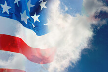 Double Exposure USA Flag On Wh...