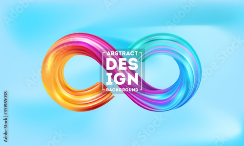 Colorful infinity shape background, Colorful 3d infinity Liquid water vector tem Tableau sur Toile