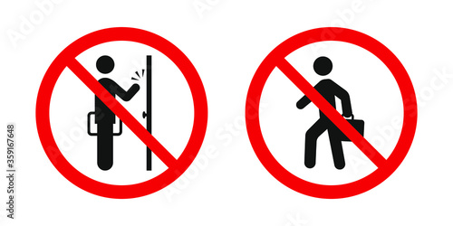 Photo No soliciting sign. Vector red prohibitation signs