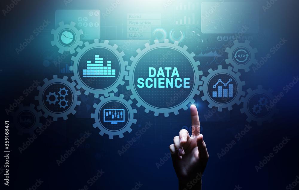 Fototapeta Big Data science analysis business technology concept on virtual screen.