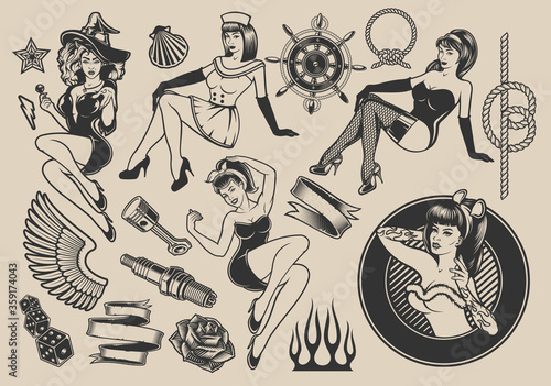 Photo Set of vector illustrations with girls with elements for design on the themes of pin-up girls, marine design, rockabilly, Halloween