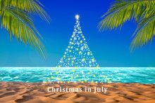 Abstract Design Christmas Tree With Twinkling Stars On A Tropical Beach With Palm Leaves. Christmas In July Poster Or Card Background.
