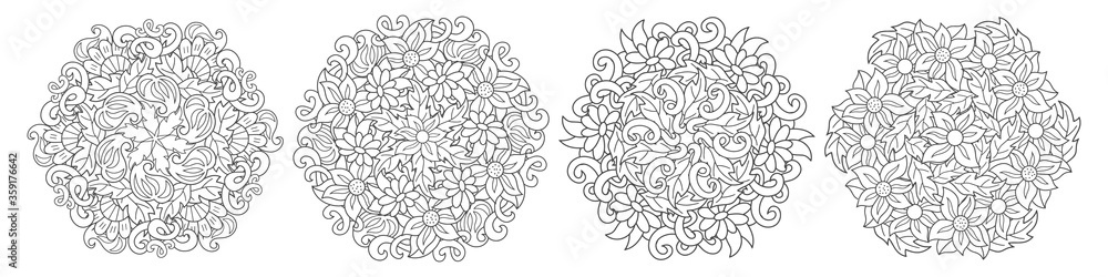 Fototapeta Doodle coloring antistress flower set. Page book with leaf isolated on white. Bundle hand drawing art line for card. Design cloth. Sketch vector stock illustration. EPS 10