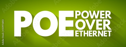 PoE - Power Over Ethernet acronym, technology concept background фототапет