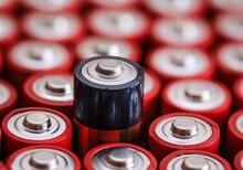 Viele Batterien Auf Einem Haufen