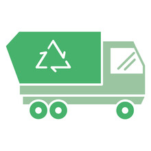 Refuse Collection Vehicle Concept, Municipal Solid Waste Collection And Transport Vector Icon Design, Automated Rear Loaders Lorry On White Background