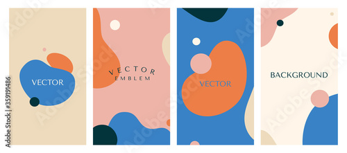 Fotografiet Vector set of abstract creative backgrounds in minimal trendy style with copy sp