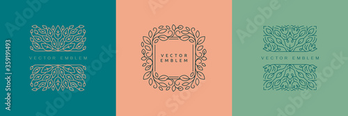 Vector design templates in simple modern style with copy space for text, flowers Tableau sur Toile