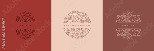Vector design templates in simple modern style with copy space for text, flowers and leaves - wedding invitation backgrounds and frames, social media stories wallpapers - 359191617