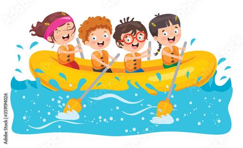 Group Of Little Children Rafting