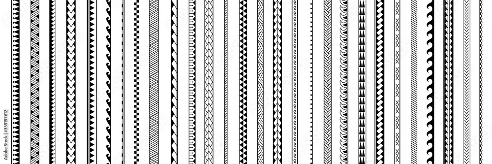Fototapeta Set of vector ethnic seamless pattern. Ornament bracelet in maori tattoo style. Geometric border african style. Vertical pattern. Design for home decor, wrapping paper, fabric, carpet, textile, cover