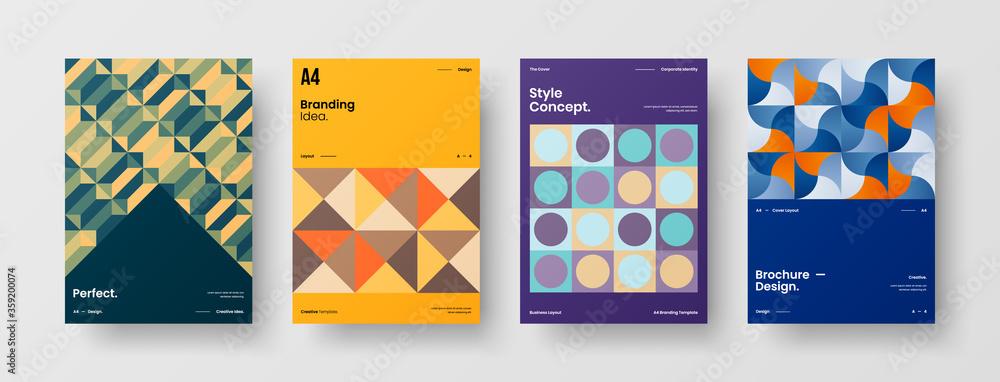 Fototapeta Abstract brochure cover vector design. Corporate identity geometric illustration template.