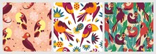 Birds In Jungle Pattern Seamless. Exotic Creative Tropical Birds Toucan Bird Of Paradise Background Colorful Trees Leaves And Abstract Vector Fruits Colored Trendy Parrots On Branches.