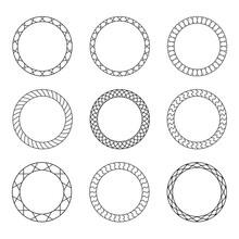 Set Of Black Vintage Circular ...
