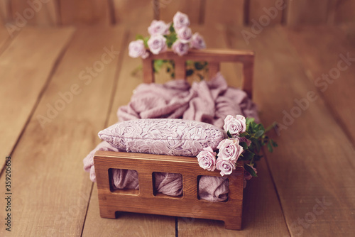 Foto Newborn Digital Background Spring rose Basket Prop for Newborn
