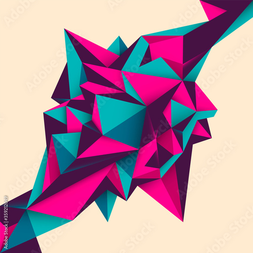 Geometric style abstract object design in color Fototapet