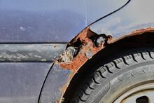 Rusty Old Car Damaged By Corrosion