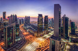 Photoshop color grade Panoramic Cityscape of West bay Area. Marriott Marques Hotel Doha