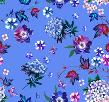 Watercolor Fashion Floral Pattern With Hydrangea And Loach Flowers , Butterflies And With On Blue Background.