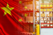Warehouse And Flag Of China. E...