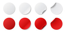 Set Circle Adhesive Symbols. White Tags, Paper Round Stickers With Peeling Corner And Shadow, Isolated Rounded Plastic Mockup,  Realistic Red Round Paper Adhesive Sticker Mockup With Curved Corner