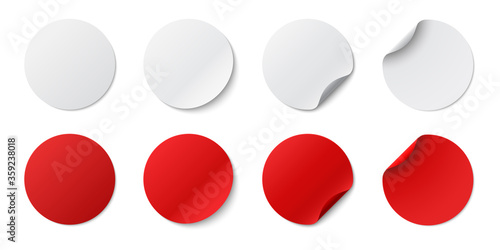 Obraz Set circle adhesive symbols. White tags, paper round stickers with peeling corner and shadow, isolated rounded plastic mockup,  realistic red round paper adhesive sticker mockup with curved corner - fototapety do salonu