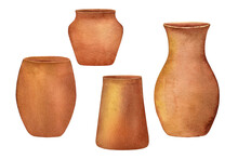 Watercolor Hand Painted Set Of Natural Brown Clay Flower Pots. Clipart Illustration Of Ceramic Vases For Houseplant, Isolated On White Background. Use It For Interior Template, Mockup, Home Decor.