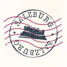 Salzburg Austria Stamp Postal. Silhouette Seal. Passport Round Design. Vector Icon. Design Retro Travel. National Symbol.