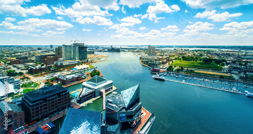 Fototapeta Inner harbor in Baltimore, Maryland on a clear day