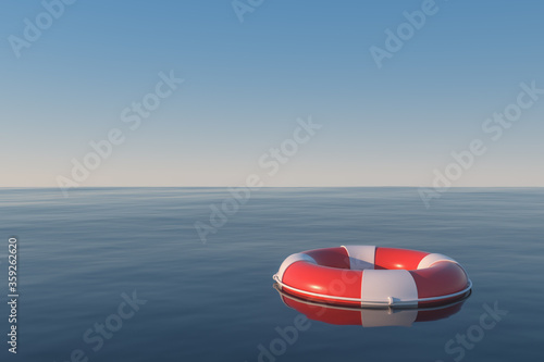 Photo Life buoy on the ocean surface, 3d rendering.