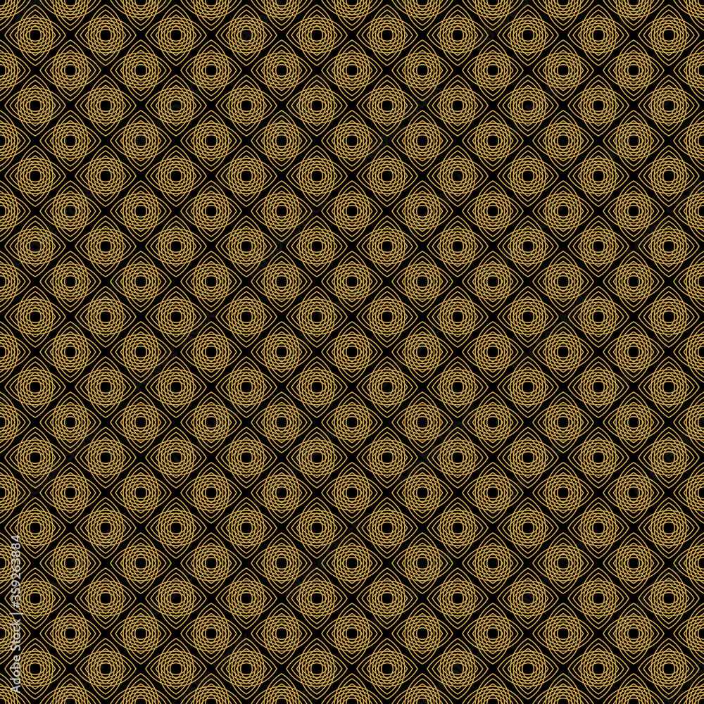 Luxury products Geometric pattern in trendy linear style, simple and bright background made with golden foil on dark for packaging. Vector.