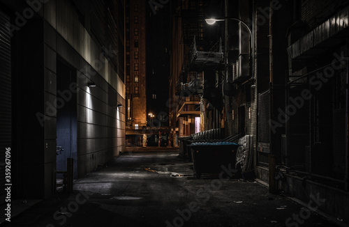Photo Abandoned dark alley at night
