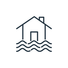 Flooded House Vector Icon Isol...