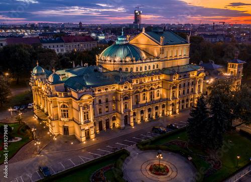 Fototapeta Main theater in Cracow at dawn. obraz