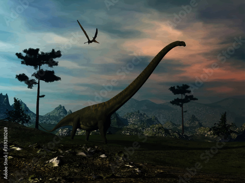 Obraz na plátně Mamenchisaurus dinosaur walk by sunset