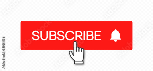 Subscribe button and hand click pointer cursor Poster Mural XXL
