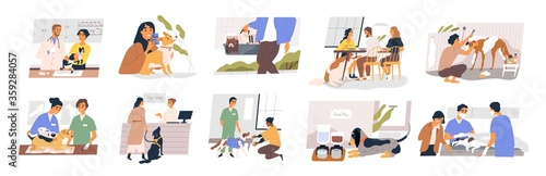 Fototapeta Different situation of pets life set vector flat illustration. Owners with their domestic animals - vaccination, vet passport, rehabilitation, sterilization, carrying and washing isolated on white obraz