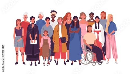 Crowd of joyful multinational woman standing together vector flat illustration Fototapete