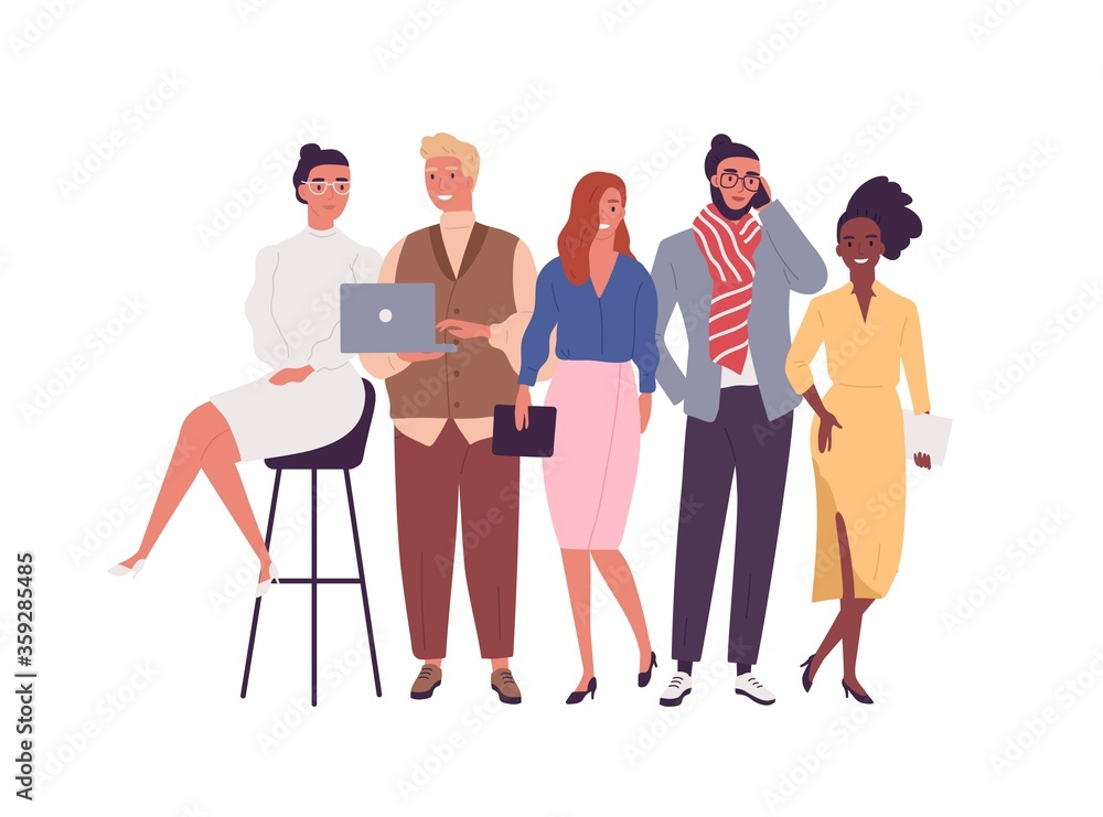 Fototapeta Group of different smiling young employee of multinational company vector flat illustration. Happy diverse business people posing together isolated on white. Joyful stylish modern man and woman