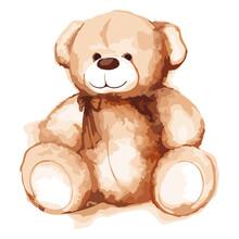 Watercolor Cartoon Lovely Teddy Bear Toy Saint Valentine's Day Illustration Vector Art Isolated