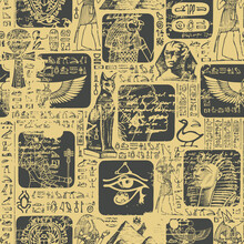 Ancient Egypt Seamless Pattern With Sketches And Scribbles. The Hieroglyphs Are Randomly Selected And Do Not Make Sense. Vector Abstract Background Suitable For Wallpaper, Wrapping Paper, Fabric