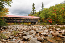 Albany Covered Bridge Over Swift River In New Hampshire In Autumn. The Albany Covered Bridge Was First Constructed In 1858.