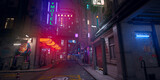 Beautiful neon night in a cyberpunk city. Photorealistic 3d illustration of the futuristic city. Empty street with multicolored neon lights.